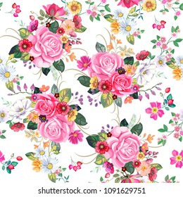 Seamless pattern with vintage bouquets