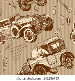seamless pattern vintage cars and tools for repair