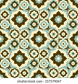 Seamless pattern vintage ceramic tile design with floral ornate.Endless texture.vector daisy background.