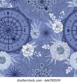 Seamless pattern with vintage compass, wind rose and floral elements in watercolor style. Nautical background. Retro hand drawn vector illustration