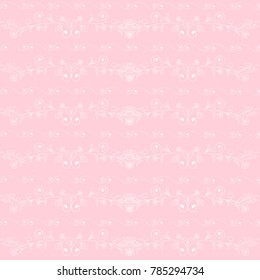 seamless pattern with vintage pattern of curls, horizontal floral pattern.