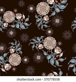 Seamless pattern. Vintage decorative elements. Hand drawn background. Islam, Arabic, Indian, ottoman motifs. Perfect for printing on fabric or paper.on black background
