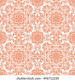 Seamless pattern. Vintage decorative elements. Hand drawn background. Islam, Arabic, Indian, ottoman motifs. Perfect for printing on fabric or paper.