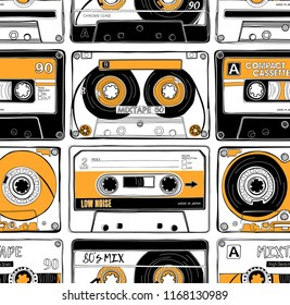 Seamless pattern with a Vintage different Audio Cassettes. Wallpaper, Textil, t-shirt composition, hand drawn style print. Vector illustration.