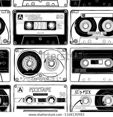 Seamless Pattern Vintage Different Audio Cassettes Stock Vector