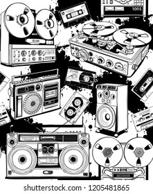 Seamless pattern. Vintage different Recording equipment. Tape cassettes, boombox, radio, recorder, powered speaker. Textil, t-shirt composition, hand drawn style print. Vector illustration.
