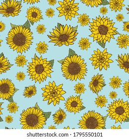 Seamless pattern with vintage hand drawn watercolor style sunflowers on blue background design