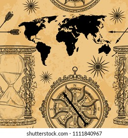 Seamless pattern with vintage hourglass, compass, world map and wind rose. Vector illustration in engraved style on grunge background