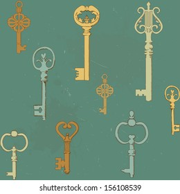 Seamless pattern with vintage keys. Eps 10