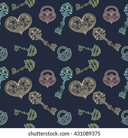 Seamless pattern with vintage keys and locks. Vector hand drawn