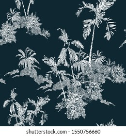 Seamless Pattern Vintage Lithograph Illustration White on Navy Blue Background, Tropical Palm Trees on Islands, Jungle Rainforest in Ocean Etching Hand Drawn Textile Design, Night Tropics