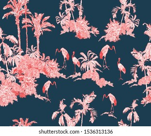 Seamless Pattern Vintage Lithography of Exotic Crane Birds in Jungle Tropical Palms Rainforest Exotic Plants Mountains British Fabric Design Pink Floral Tropics on Navy Blue Background