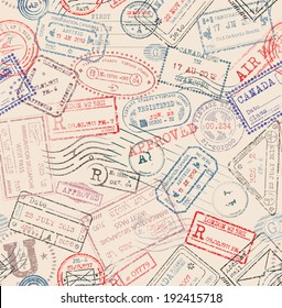 Seamless pattern with vintage passport stamps