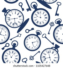 Seamless pattern with vintage pocket watch and keys. Vector illustration.