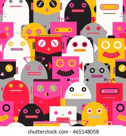 Seamless pattern with vintage robots. Vector illustration