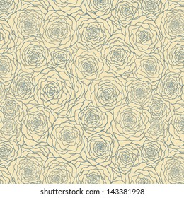 Seamless pattern with vintage roses.