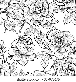 Seamless pattern with vintage roses. Vector illustration