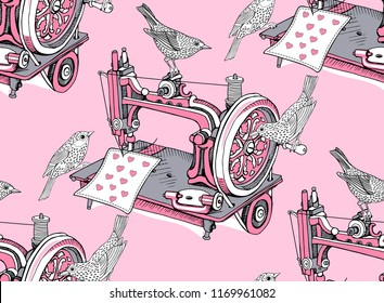 Seamless pattern with a Vintage Sewing machine and birds on a pink background. Wallpaper, Textil, t-shirt composition, hand drawn style print. Vector illustration.