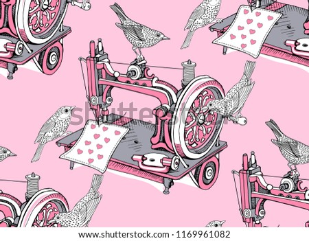 Seamless Pattern Vintage Sewing Machine Birds Stock Vector Royalty Fascinating Sewing Machine Wallpaper