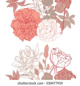 Seamless pattern in vintage style with bouquets of flowers