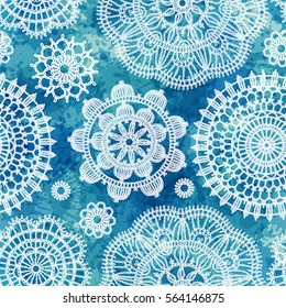 Seamless pattern in vintage style. Decorative knitted napkins