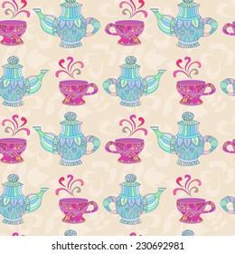 Seamless pattern with vintage teapots and cups