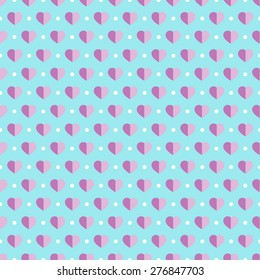 Seamless pattern with violet hearts on a light blue background.