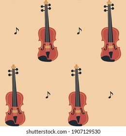 Seamless pattern with violin or cello and sheet music on beige background. Music Day. Vector musical instrument set. Doodle elements