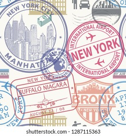 Seamless pattern with visa rubber stamps on passport with text New York, Manhattan, Buffalo, Bronx, immigration signs, airport travel, vector illustration