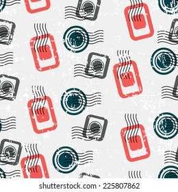 Seamless Pattern with Visa Stamps. Vector Background for Traveler