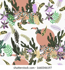 Seamless pattern with vivid jungle and wild animals, abstract background.