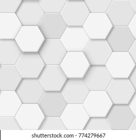 Seamless pattern of voluminous  white and gray hexagons