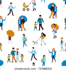 Seamless pattern with walking people.  Flat style vector illustration isolated on white background.