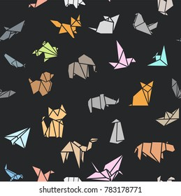 Seamless Pattern Wallpaper Background Origami Folded Paper Animals Shapes. Bird, Crane, Cat, Dog, Rhino, Fox, Mouse, Elephant.