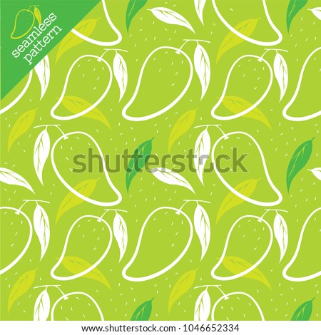 Seamless Pattern Wallpaper Mango Outlines Leaves Stock Vector