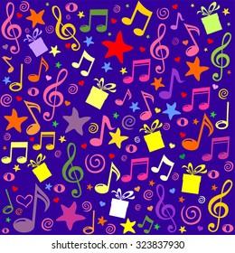 Seamless pattern wallpaper of musical notes, gift box, stars. Vector Illustration