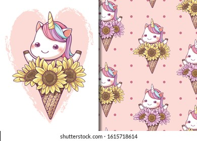 Seamless pattern and wallpaper template cute ice cream cone unicorn with sunflower set. Kawaii character cartoon design for screen wallpaper social media and gift wrapping pattern.