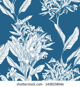 Seamless Pattern Wallpaper Textile design Chinoiserie Chic Chinese Blue and White Print Oleander Blooming Trees Tropical Leaves Exotic Flowers Oriental Retro Asian Doodle Illustration One Color