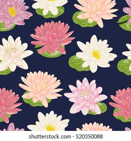 Seamless pattern with water lily. Collection decorative floral design elements. Flowers and leaves. Vintage hand drawn vector illustration in watercolor style.