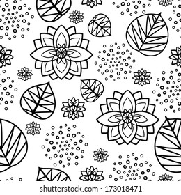 Seamless pattern with water lily flowers and leaves in black and white. Hand drawing - vector