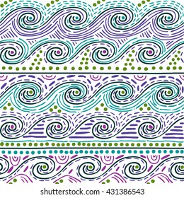 seamless pattern - water waves on white background