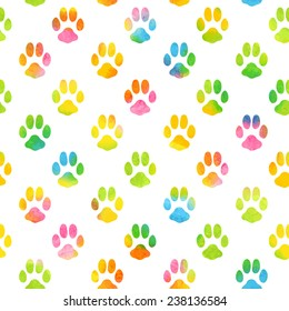 Seamless pattern with watercolor animal footprint texture. Vector illustration