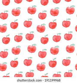 Seamless pattern with watercolor apples. Vector illustration