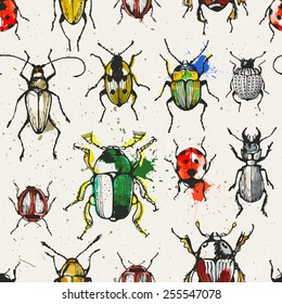 Seamless pattern with watercolor beetles. EPS 10 vector illustration.