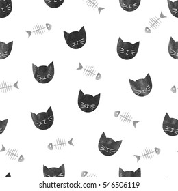 Seamless pattern with watercolor black cats and fishbones. Vector background.