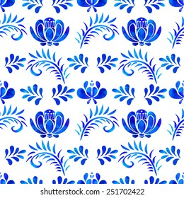 Seamless pattern with watercolor blue flowers, leafs on white background. Repeating background texture in russian style gzhel. Cloth design. Wallpaper, wrapping