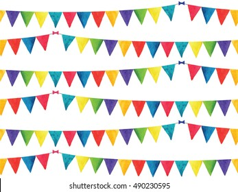 Seamless pattern with watercolor bunting, carnival garlands of flags