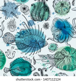 Seamless pattern with watercolor deepwater organisms, vector illustration