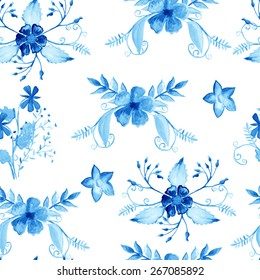 Seamless pattern with watercolor flowers. Blue hand painted motifs on white background. Floral design for scrapbook, fabric, textile,advertising, brochures, cards, invitations. Vector illustration.