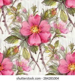 Seamless pattern with watercolor flowers. Dog rose. Vector illustration.